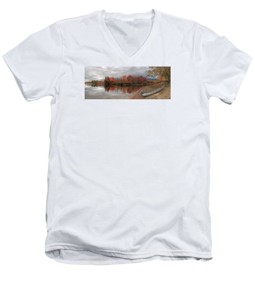 Maine Lake In Autumn Men's V-Neck T-Shirt