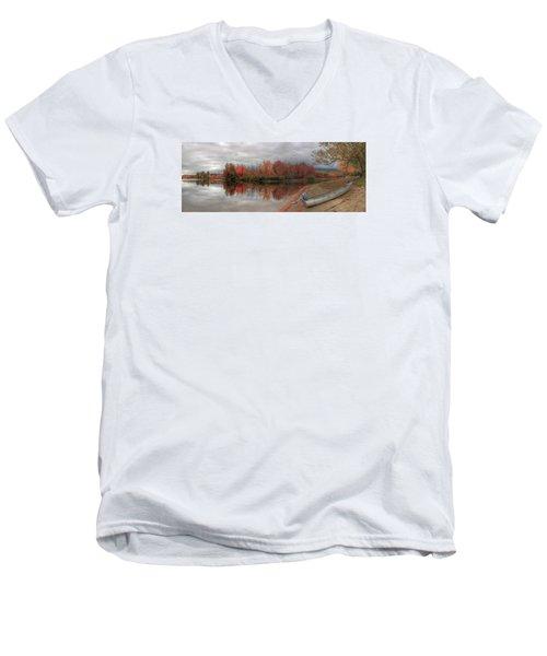 Maine Lake In Autumn Men's V-Neck T-Shirt