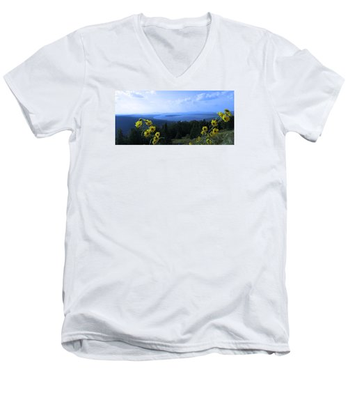 Men's V-Neck T-Shirt featuring the photograph Maine Mountain Vistas by Mike Breau