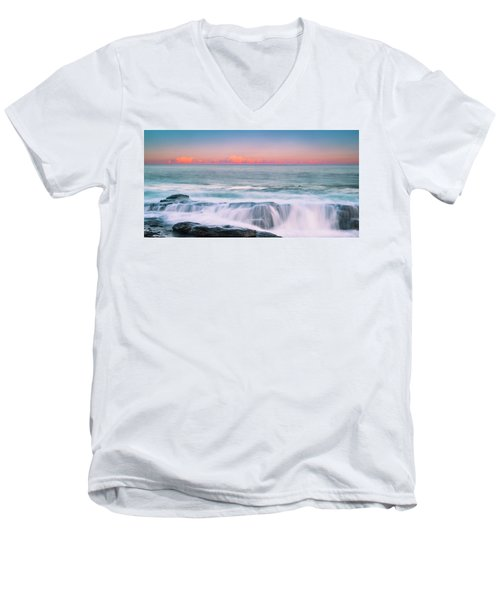 Maine Rocky Coastal Sunset Panorama Men's V-Neck T-Shirt