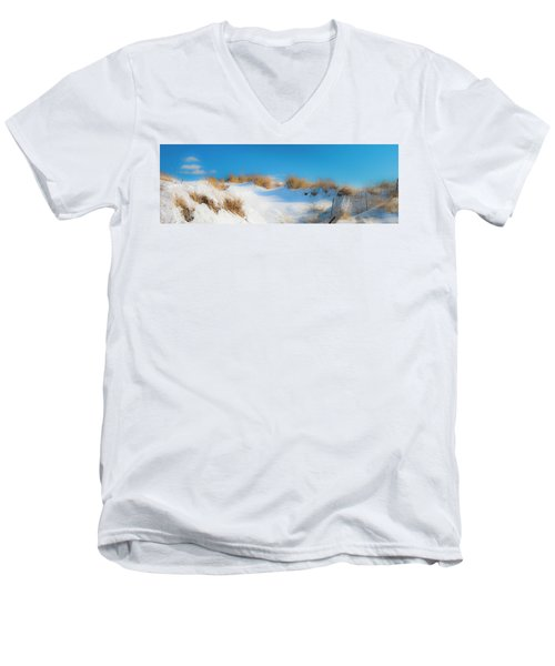 Maine Snow Dunes On Coast In Winter Panorama Men's V-Neck T-Shirt by Ranjay Mitra