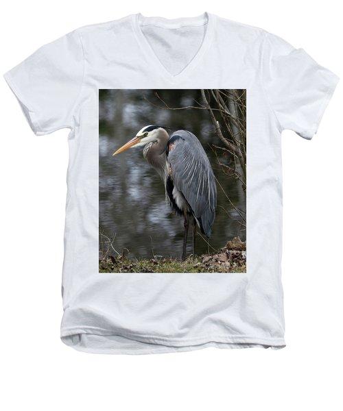 Majestic Great Blue Heron Men's V-Neck T-Shirt