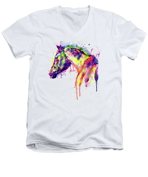 Majestic Horse Men's V-Neck T-Shirt by Marian Voicu