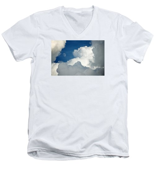 Majestic Storm Clouds With Moon Men's V-Neck T-Shirt