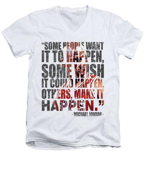 Make It Happen Men's V-Neck T-Shirt by Iman Cruz