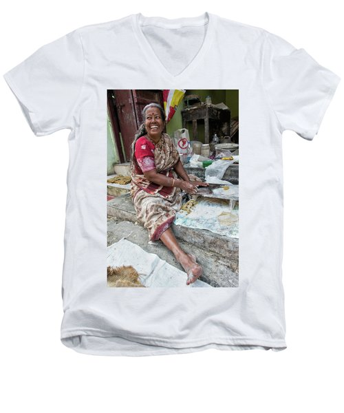 Making Chapatti Men's V-Neck T-Shirt by Marion Galt