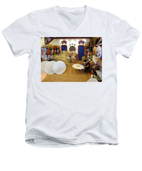 Making Chinese Paper Umbrellas Men's V-Neck T-Shirt