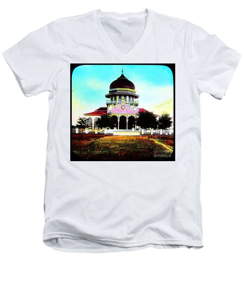 Men's V-Neck T-Shirt featuring the photograph Malay Mosque Singapore Circa 1910 by Peter Gumaer Ogden
