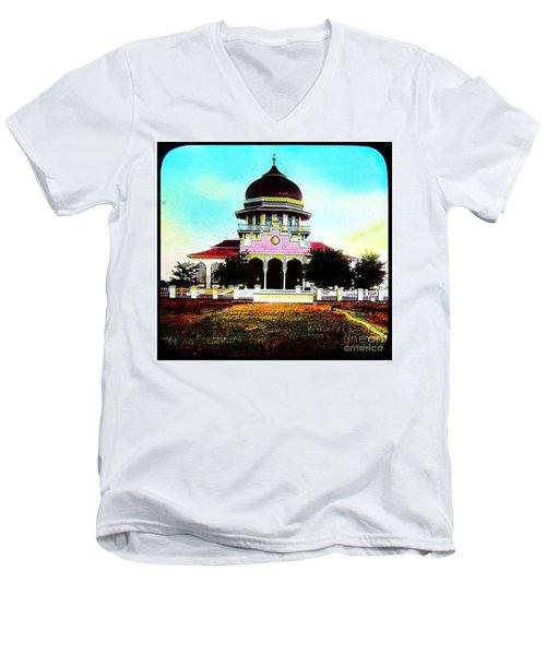 Malay Mosque Singapore Circa 1910 Men's V-Neck T-Shirt