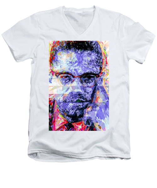 Malcolm X Digitally Painted 1 Men's V-Neck T-Shirt