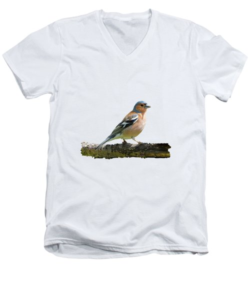 Male Chaffinch, Transparent Background Men's V-Neck T-Shirt by Paul Gulliver