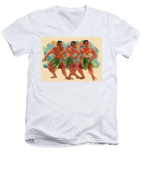 Male Dancers Of Lifuka, Tonga Men's V-Neck T-Shirt