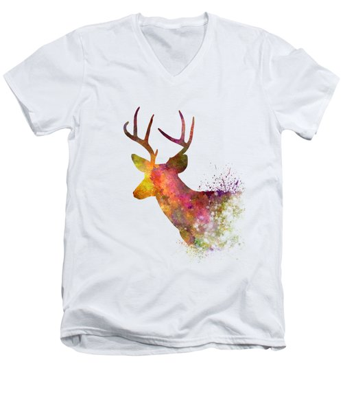 Male Deer 02 In Watercolor Men's V-Neck T-Shirt by Pablo Romero