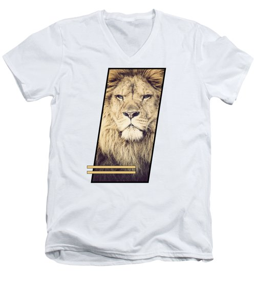 Male Lion Men's V-Neck T-Shirt by Sven Horn