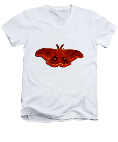 Men's V-Neck T-Shirt featuring the photograph Male Moth Red .png by Al Powell Photography USA