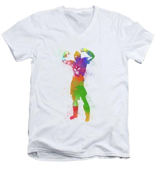 Male Watercolor Pose 1 Men's V-Neck T-Shirt