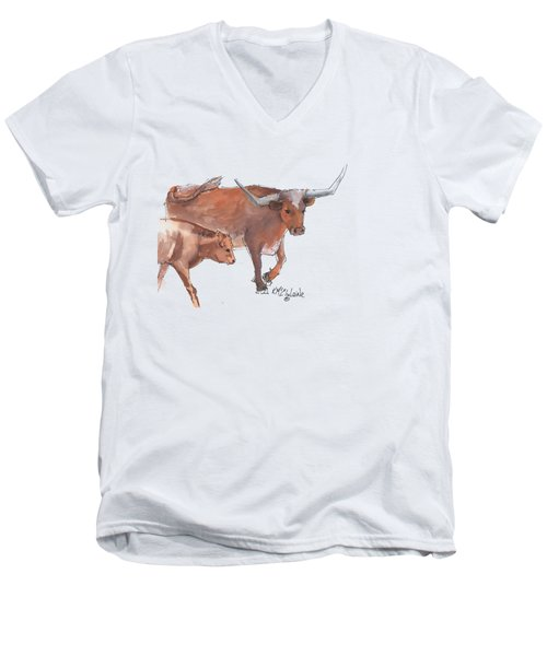 Mama And Baby Longhorn On The Run Men's V-Neck T-Shirt by Kathleen McElwaine