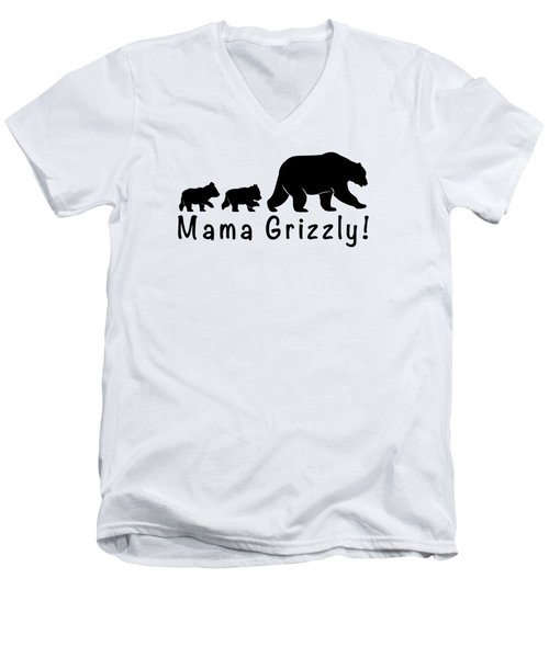 Mama Grizzly And Cubs Men's V-Neck T-Shirt by A C
