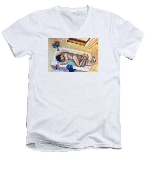 Man In Bathtub #3 Men's V-Neck T-Shirt