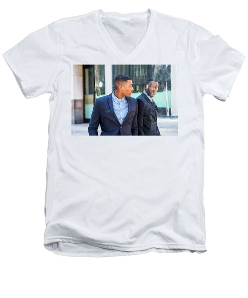 Man Looking At Mirror Men's V-Neck T-Shirt