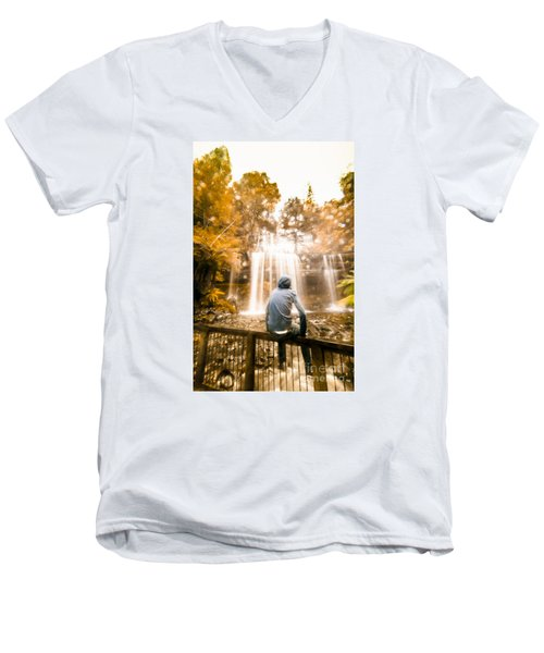 Men's V-Neck T-Shirt featuring the photograph Man Looking At Waterfall by Jorgo Photography - Wall Art Gallery