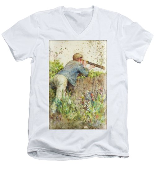 Men's V-Neck T-Shirt featuring the painting Man Looking Through A Telescope by Henry Scott Tuke