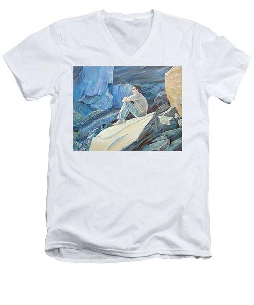 Man On The Rocks Men's V-Neck T-Shirt