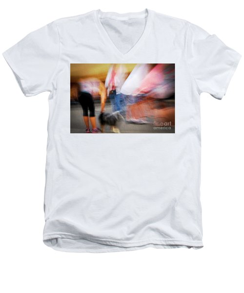 Woman Playing With Dog Men's V-Neck T-Shirt