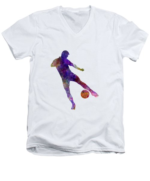 Man Soccer Football Player 02 Men's V-Neck T-Shirt by Pablo Romero