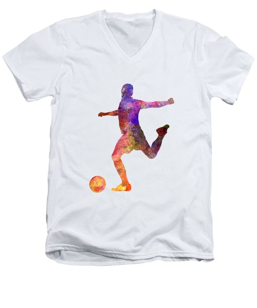 Man Soccer Football Player 03 Men's V-Neck T-Shirt by Pablo Romero