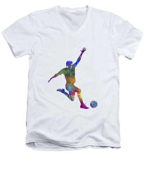 Man Soccer Football Player 05 Men's V-Neck T-Shirt by Pablo Romero