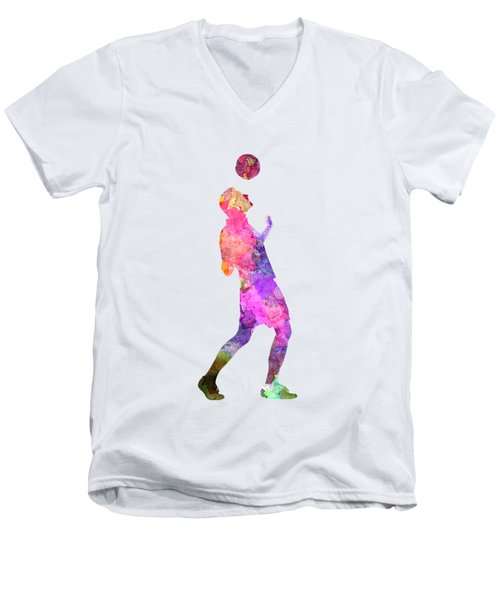Man Soccer Football Player 06 Men's V-Neck T-Shirt by Pablo Romero