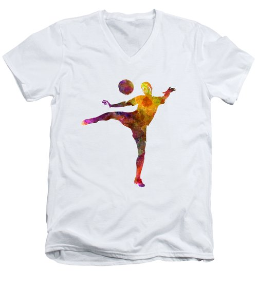 Man Soccer Football Player 07 Men's V-Neck T-Shirt by Pablo Romero