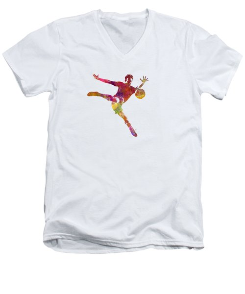 Man Soccer Football Player 08 Men's V-Neck T-Shirt by Pablo Romero