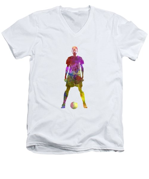 Man Soccer Football Player 11 Men's V-Neck T-Shirt by Pablo Romero