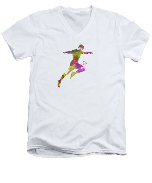 Man Soccer Football Player 12 Men's V-Neck T-Shirt by Pablo Romero
