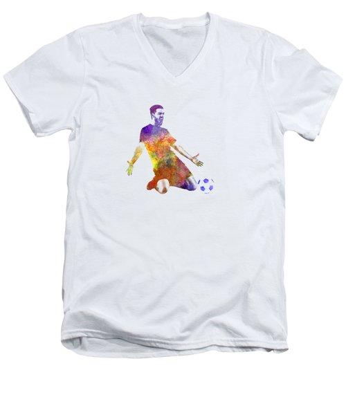 Man Soccer Football Player 13 Men's V-Neck T-Shirt