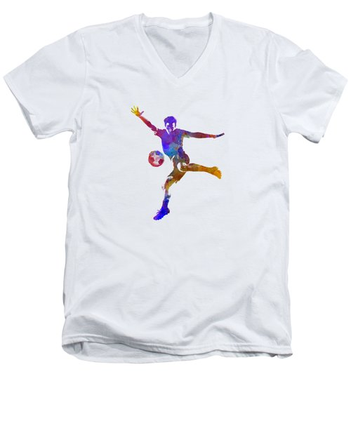 Man Soccer Football Player 14 Men's V-Neck T-Shirt by Pablo Romero