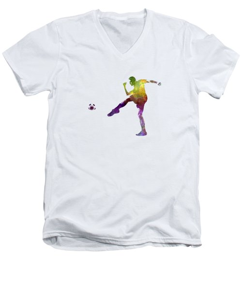 Man Soccer Football Player 15 Men's V-Neck T-Shirt by Pablo Romero