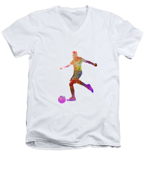 Man Soccer Football Player 16 Men's V-Neck T-Shirt by Pablo Romero