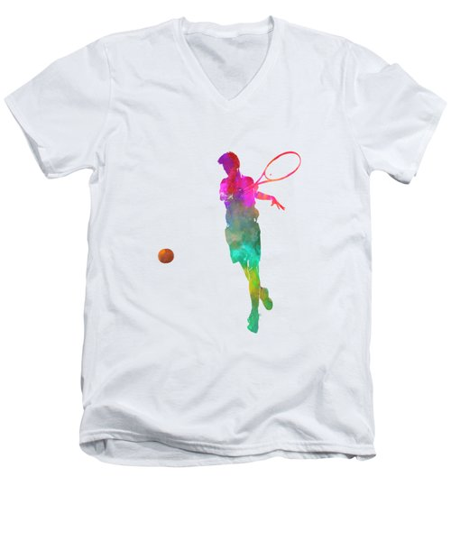 Man Tennis Player 01 In Watercolor Men's V-Neck T-Shirt by Pablo Romero