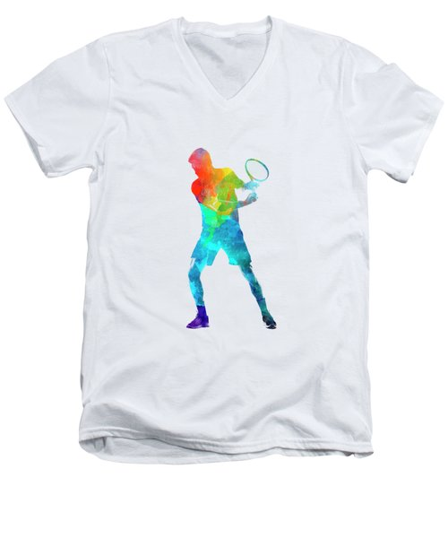 Man Tennis Player 02 In Watercolor Men's V-Neck T-Shirt by Pablo Romero