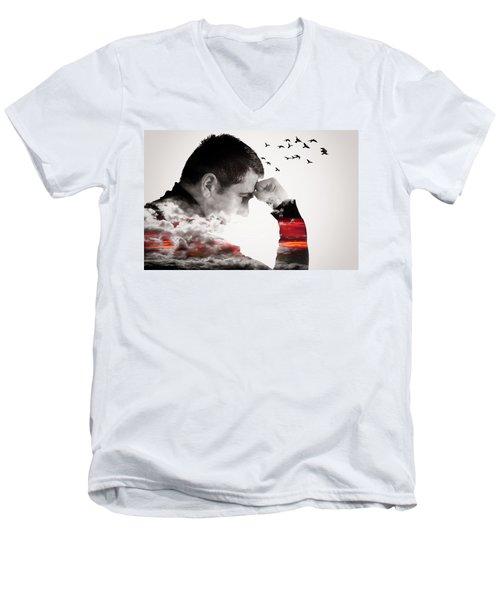 Man Thinking Double Exposure With Birds Men's V-Neck T-Shirt