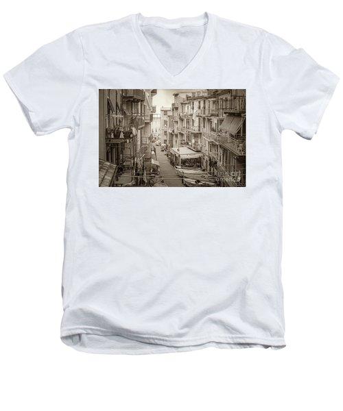 Manarola In Sepia Men's V-Neck T-Shirt