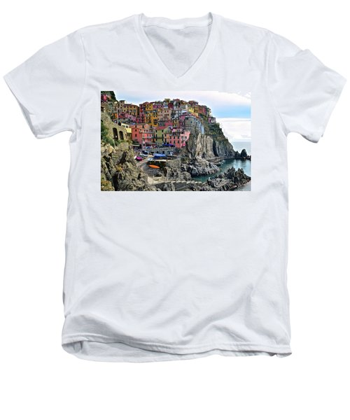 Men's V-Neck T-Shirt featuring the photograph Manarola Version Four by Frozen in Time Fine Art Photography