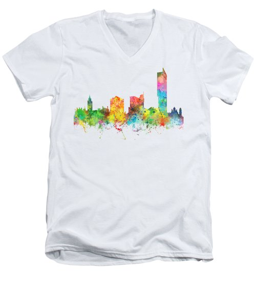 Manchester City Skyline Men's V-Neck T-Shirt by Marlene Watson