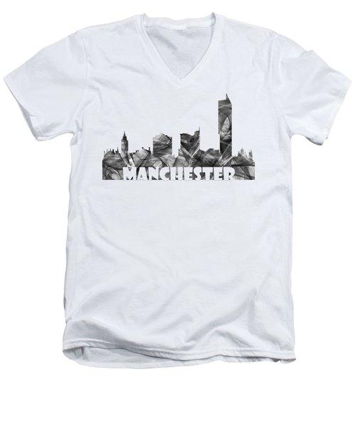 Manchester England Skyline Men's V-Neck T-Shirt