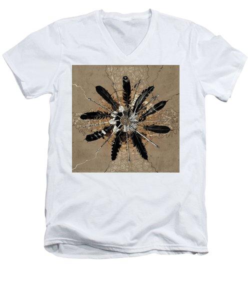 Mandala Arrow Feathers Men's V-Neck T-Shirt