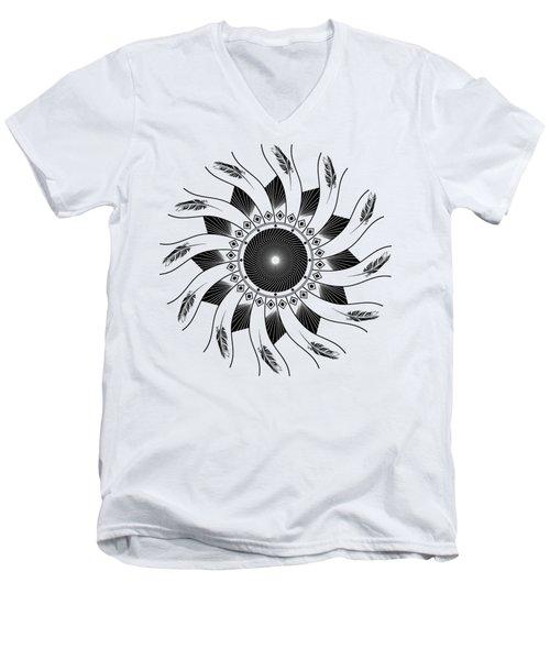 Men's V-Neck T-Shirt featuring the digital art Mandala Black And White by Linda Lees