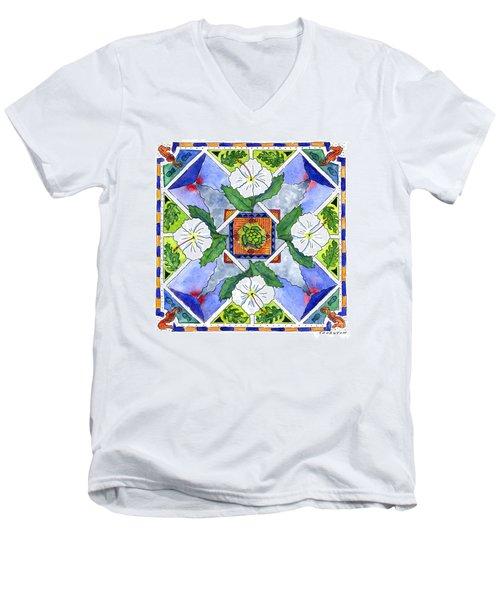 Mandala IIi - White Hibiscus Men's V-Neck T-Shirt